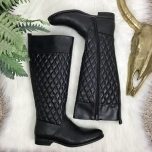Bass Quincy Quilted Faux Leather Knee High Boots